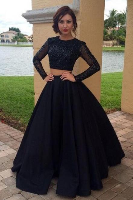 Charming Prom Dress,Satin Prom Dress,Two Pieces Prom Dress,Long-Sleeves Evening Dress