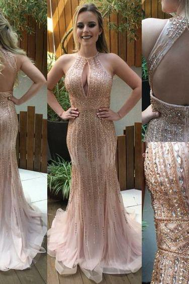 #prom dress#mermaid prom dress#Backless Evening dress#Beading Prom Dress 2017