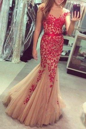 Red tulle mermaid applique cheap formal prom dresses 2017