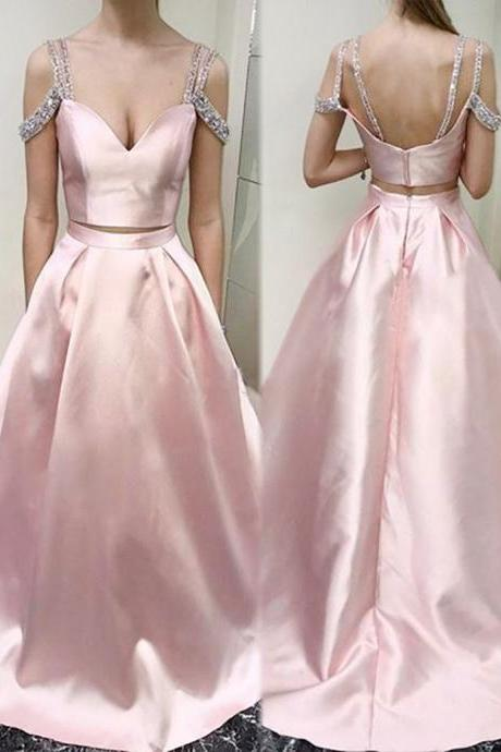 Two Piece Scoop Cold Shoulder Pink Floor-length Beading Prom Dress cheap prom dresses 2017