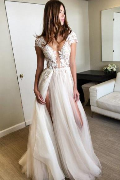 A-line V-neck Ivory Tulle Floor-length Cap Sleeves Split-side Prom Dress with Appliques cheap prom dresses 2017