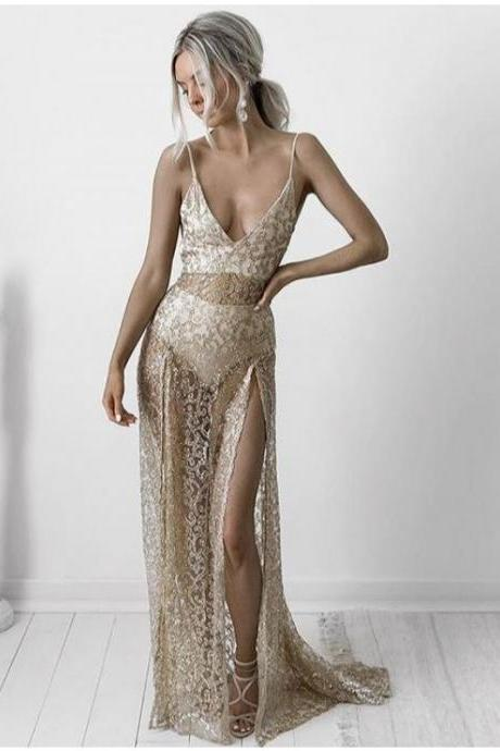 Cheap lace prom dresses 2017 Sexy Champagne A Line Lace Prom Dresses Sexy Deep V Neck Sleeveless Evening Dresses Party Gowns