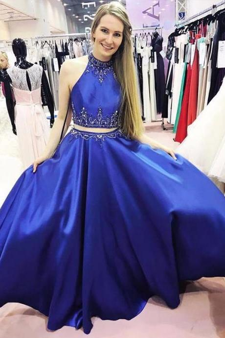 Two Piece Royal Blue Halter Long Prom Dress with Beading Pockets 2017