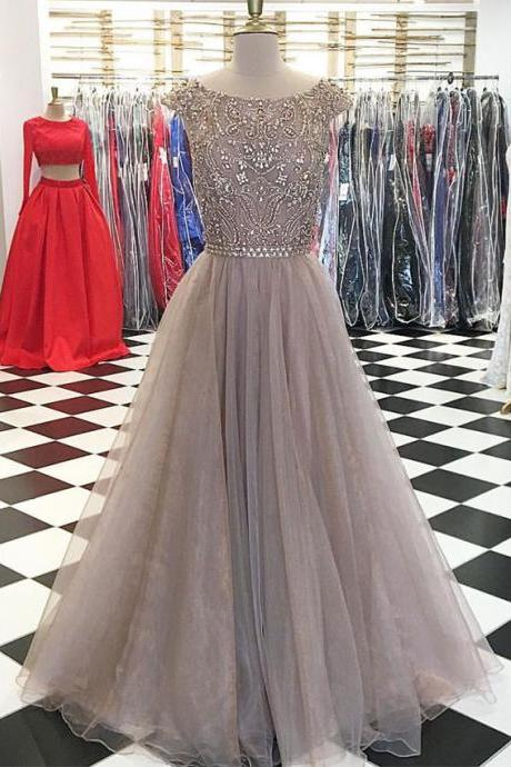 Unique round neck sequin long prom dress, evening dress, champagne formal dress cheap prom dresses 2017