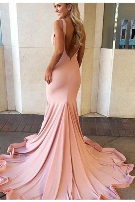 Sexy Mermaid V-neck Sleeveless Sweep Train Blush Backless Prom Dress Pink Prom dresses cheap