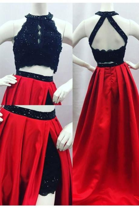 Elegant A-line Round Neck Open Back Split Sweep Train Red Prom Dress with Lace Beading cheap prom dresses 2017