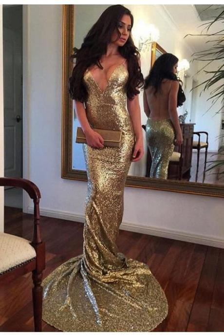 cheap prom dresses 2017 Sexy Mermaid Deep V-Neck Sleeveless Backless Sweep Train Gold Sequined Prom Dress