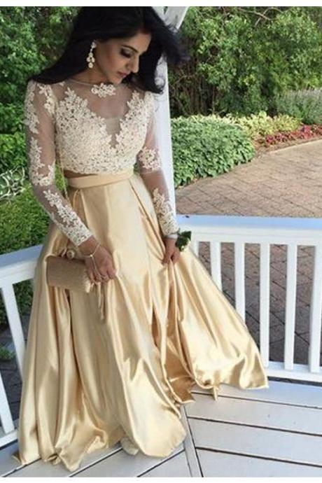 Cheap Prom Dresses 2017 Modern Apricot Bateau Long Sleeves Two Piece Long Prom Dress with Appliques