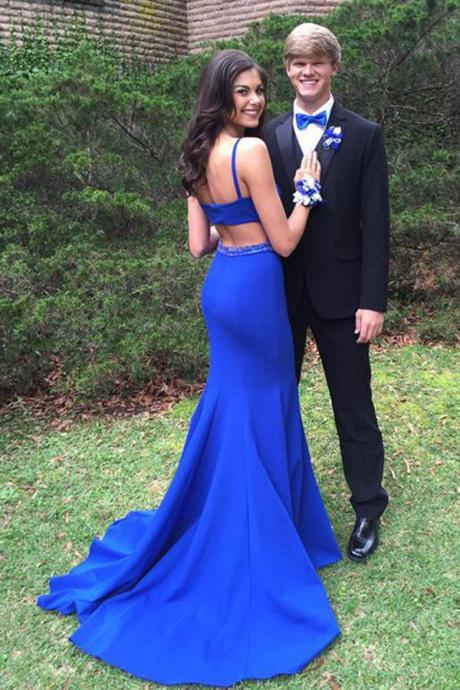 Cheap Prom Dresses 2017 Elegant Bateau Open Back Sweep Train Royal Blue Mermaid Prom Dress with Beading