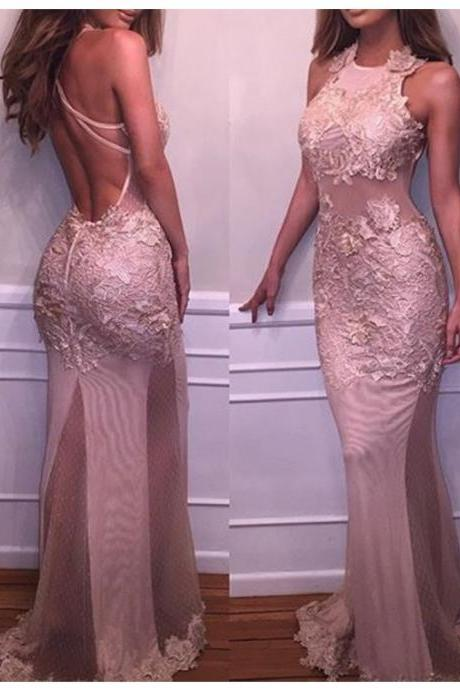 Cheap Prom Dresses 2017 Charming Round Neck Backless Sweep Train Blush Mermaid Prom Dress with Appliques