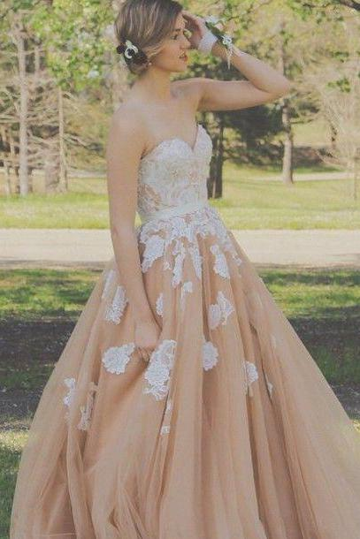 Cheap prom dresses 2017 Mild Floor Length Prom Dress - Champagne Princess Sweetheart with Appliques