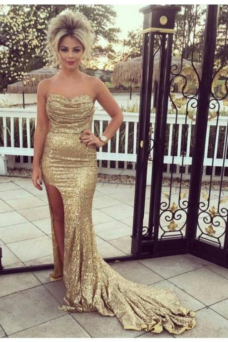 Cheap prom dresses 2017 Glamorous Sweetheart Split Sweep Train Gold Sequined Sheath Prom Dress with Ruffles