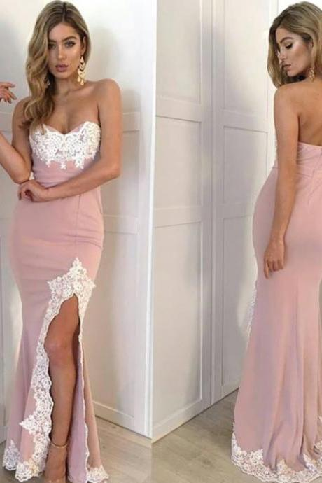 Gorgeous lace high slit pink prom formal dresses 2017