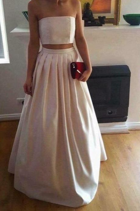 Custom Made White Strapless Bandeau Cropped Top and Long Pleated Satin Skirt Evening Dress, Bridesmaid Dresses, Prom Dresses, Formal Dresses, Wedding Dresses