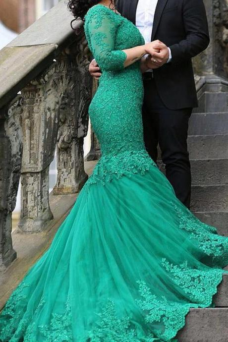 cheap prom dresses 2017 3/4 Sleeves Green Lace Appliqued Sweep Train Mermaid Prom Dresses,Fashion Prom Dress,Sexy Party Dress,Custom Made Evening Dress