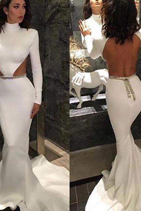 Cheap prom dresses 2017 Prom Dresses,White High-Neck Long-Sleeve Sexy Backless Mermaid Evening Dresses