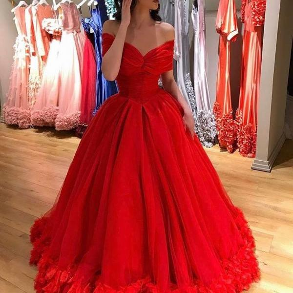 Cheap prom dresses 2017,Flowers Princess Sweet 16 Dresses,Ball Gowns Evening Dresses,Off the Shoulder Red Bridal Dresses 2017,Red Capet Dresses