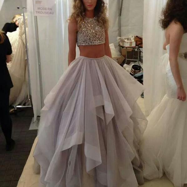 Cheap prom dresses 2017,New Arrival 2 Pieces Ball Gown Prom Dresses,Two Piece High Low Quinceanera Dresses,High Neck Tiered Skirt Prom Gowns Evening Dresses