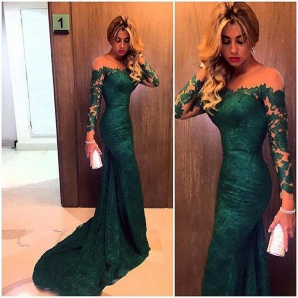 Cheap prom dresses 2017,Charming prom dress,Sexy prom dress , long sleeve prom dress, green lace prom dress, chiffon prom dress, long prom dress , evening dress on luulla dress 2017