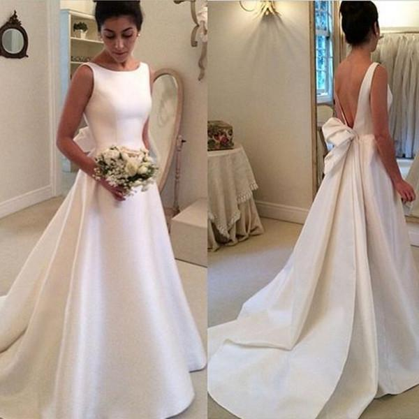 Cheap wedding dresses 2017,White Long Wedding Dress - Open Back Ribbon Train