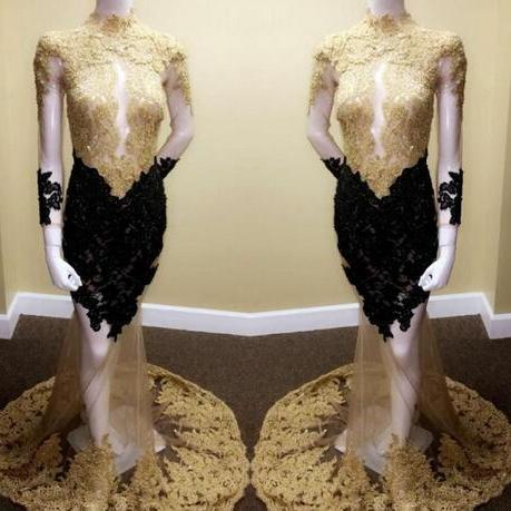 Cheap prom dresses 2017,New Long Sleeve Gold Lace Applique Prom Dresses 2017 Real Images HIgh Neck Sequins Beads Sheer See Through CUstom Made Evening Gowns