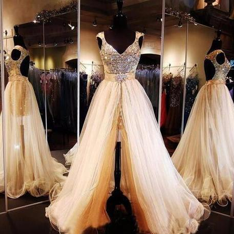 Detachable Train Long Prom Dresses 2017 New Vestidos de formatura Gorgeous Beaded Crystals Cap Sleeves Prom Gown Robe De Soiree