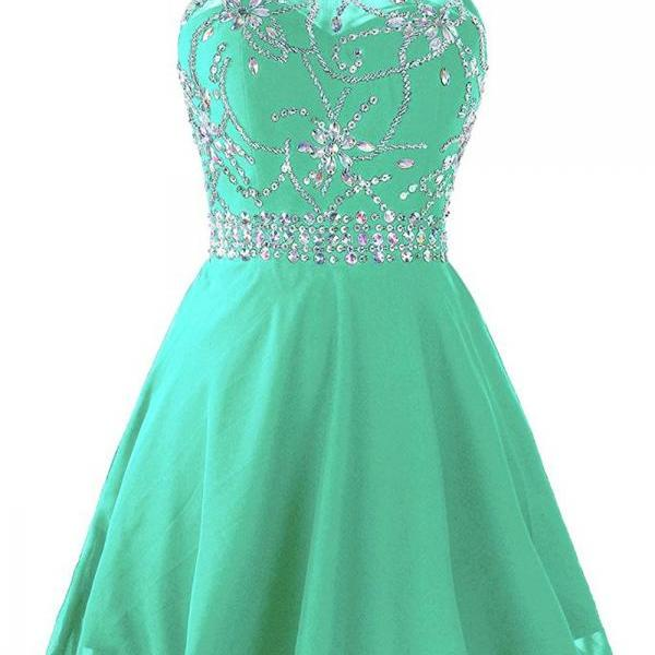 Short Beaded Prom Dress Backless Halter Homecoming Dress