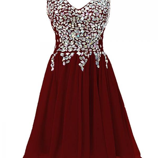 Sheer Straps Short Prom Dress V Neck Beads Homecoming Party Dresses