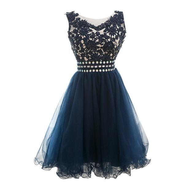 Lace Homecoming Dresses,A Line Appliques Beaded Scoop Short Homecoming Dress