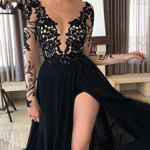 Cheap prom dresses 2017,Black Prom Dress,Long Prom Dresses,A line prom Dresses,