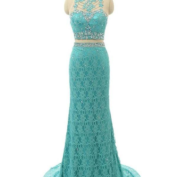 Ladies Sheath/Column Scoop Neck Lace Tulle Sweep Train Beading Two Piece Prom Dresses