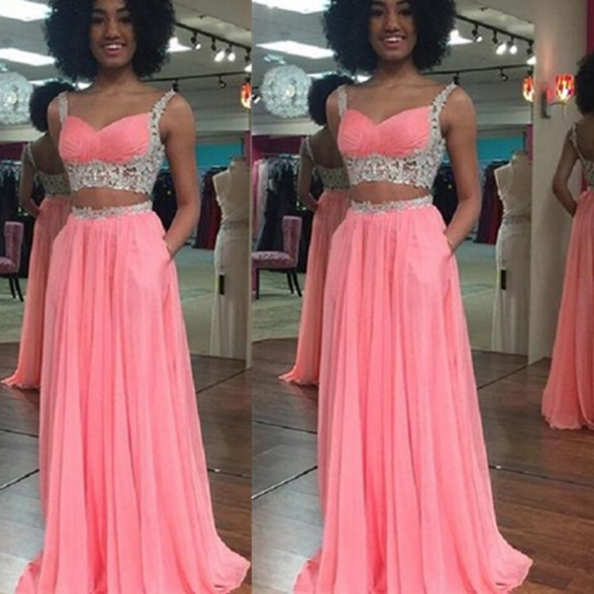 Cheap prom dresses 2017,Prom Dresses,Lace Top Prom Dresses,Two Piece Prom Dresses,