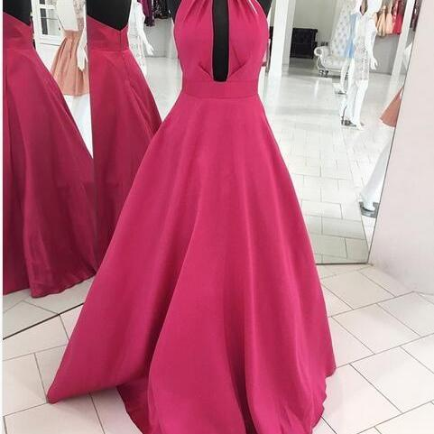 Cheap prom dresses 2017,2017 Ball Gown Satin Prom Dresses Halter Beading Crystals Sleeveless