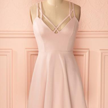 Cheap A-Line Straps Criss-Cross Straps Short Pink Satin Homecoming Dress