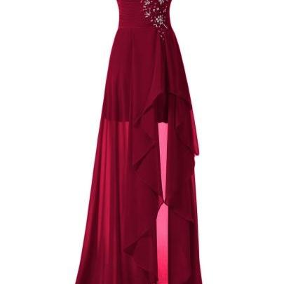Sweetheart Beading Chiffon High-Low Asymmetry Bridesmaid Dress