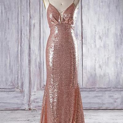 Gold Sequin Long Mermaid V Neck Bridesmaid Dresses