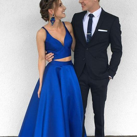Sexy Satin Royal Blue Two-Piece Prom Gown Long Prom Dress