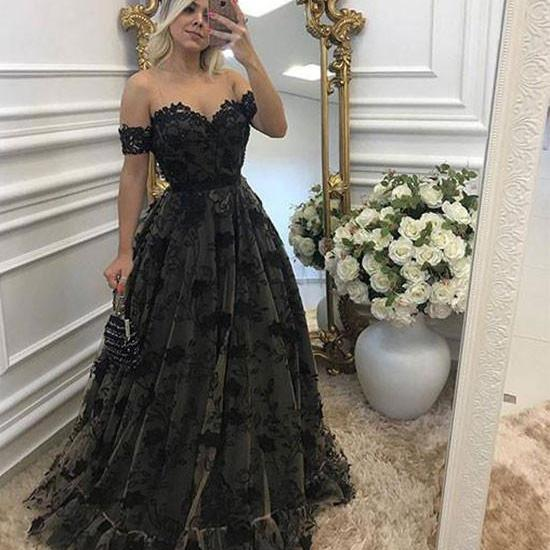 Off The Shoulder Black Lace Long Lace Evening Prom Dress