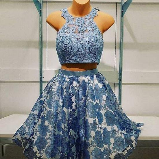 Halter Blue Two Pieces Lace Short Homecoming Prom Dress,