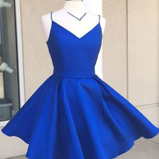 Cheap Simple V Neck Blue Short Cute Homecoming Prom Dress