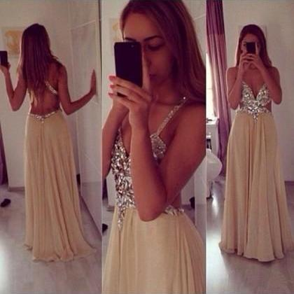 Prom Dress Prom Dress Crystal Champagne Spaghetti Straps Floor Length Chiffon A Line Prom Dres