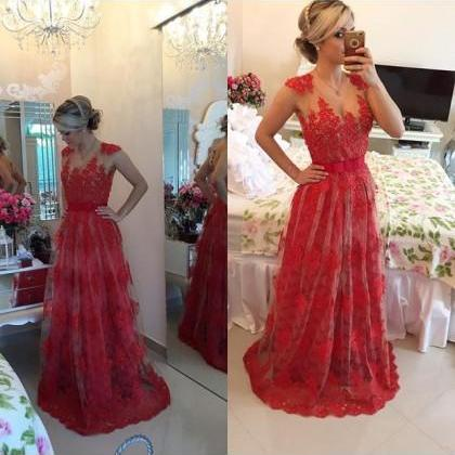 Formal Dress Prom Dress Red Illusion Brush Train Lace A Line Prom Evening Dress