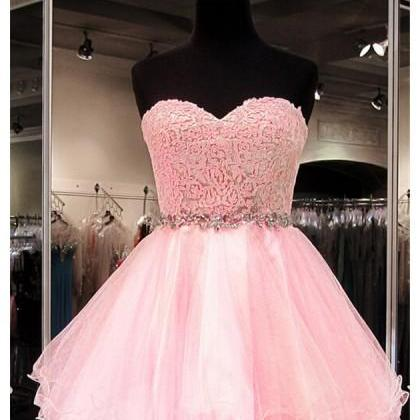 Pink Sweetheart Mini Tulle A Line Homecoming Cocktail Dress