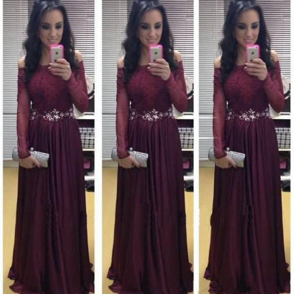 Burgundy Maroon Scarlet Formal Dress Prom Dress Long Sleeves Sexy Lace Appliques Prom Gowns