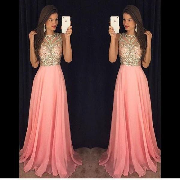 2016 Cheap Formal Dress Prom Dress Long Chiffon Prom Dresses Pink Gold Beading Sleeveless Gorgeous A-line Evening Gowns