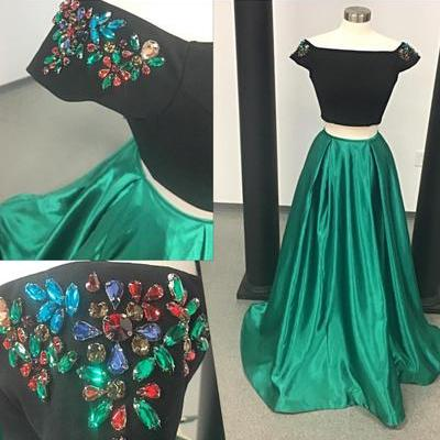Cheap prom dresses 2017 crop top Special Two Piece Prom Dress, 2017 Long Prom Dress, Green Prom Dress with Black Top